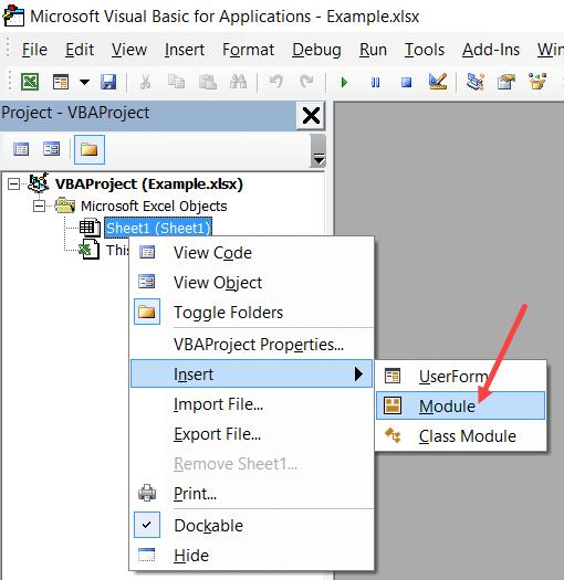 Click on Insert Module