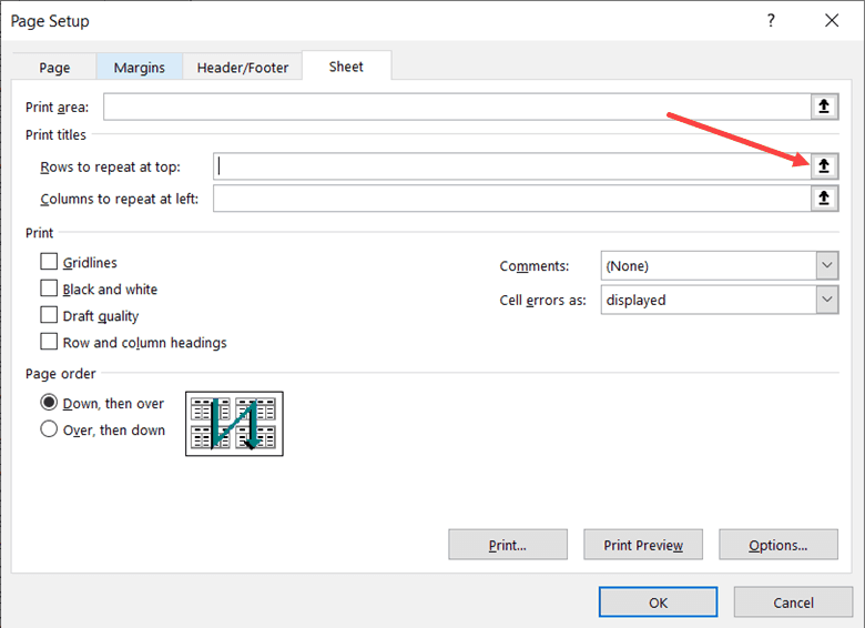 Click on the option to select the row that you want to repeat on each page in Excel