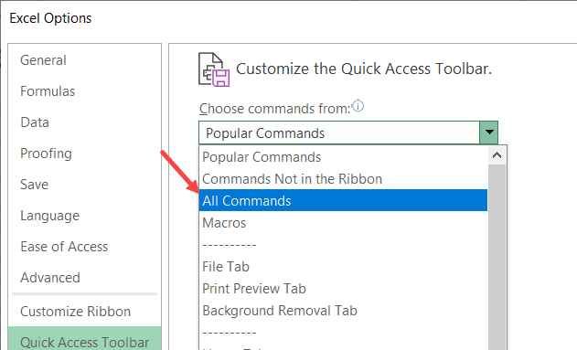 Click on All Commands in the drop down