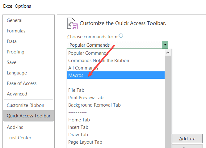 Click on Macros option in the Poular command drop down