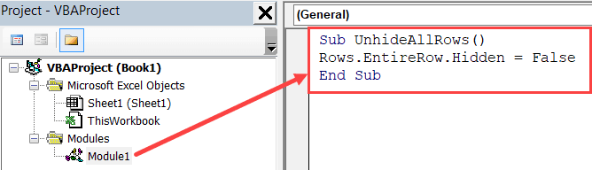 Copy and paste the code in the module window