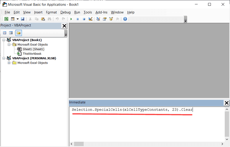 Copy paste the code in the immediate window