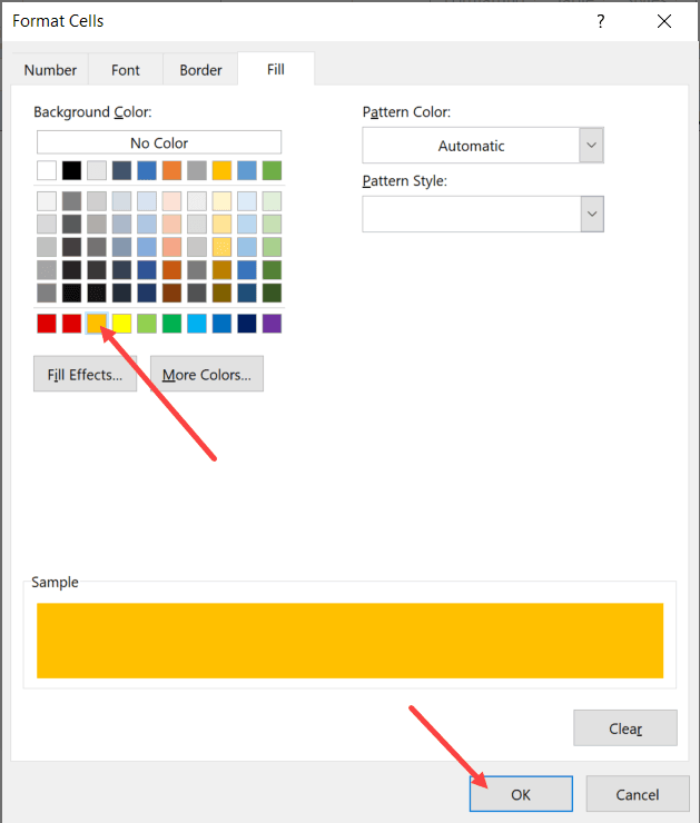 Select the color to autoformat formulas and then click on OK