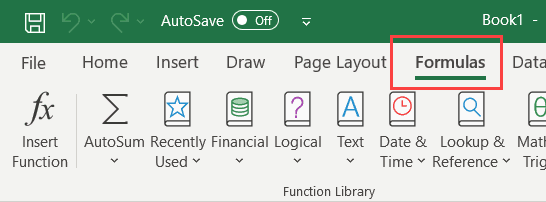 Click the Formulas tab in the Excel ribbon