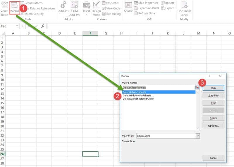 Run the macro to delete a worksheet