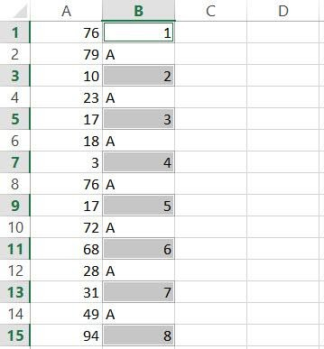 Alternate Numbers selected in Column B