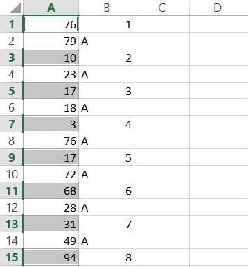Every Other cell selected in Excel column