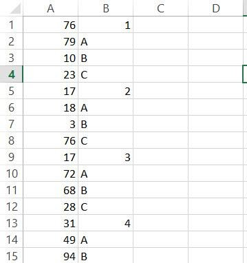 To select every fifth cell in a column in Excel