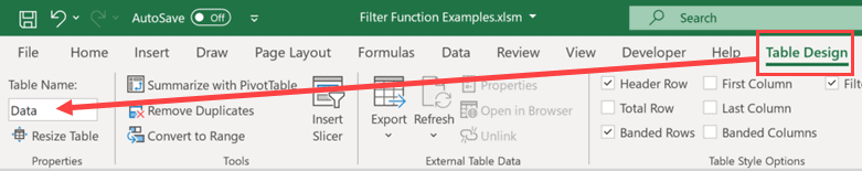 Change the name of the table to Data