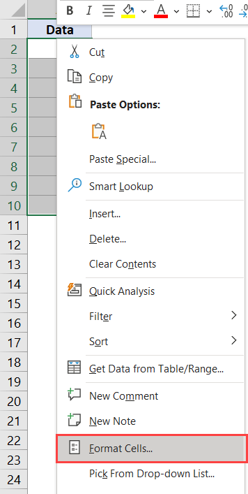 Click on the format Cells option