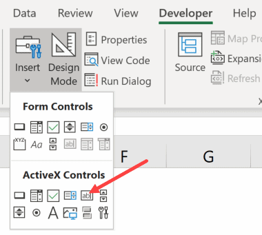 Click on the text box option in ActiveX control