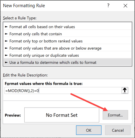 Click the Format button