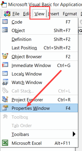 Click view and then click on Properties