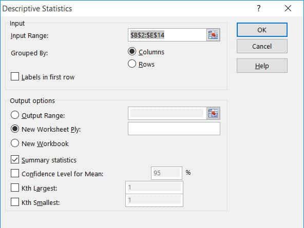 Descriptive Statistics dialog box