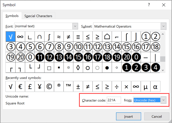 Enter 221A as the Character code to insert the square root symbol