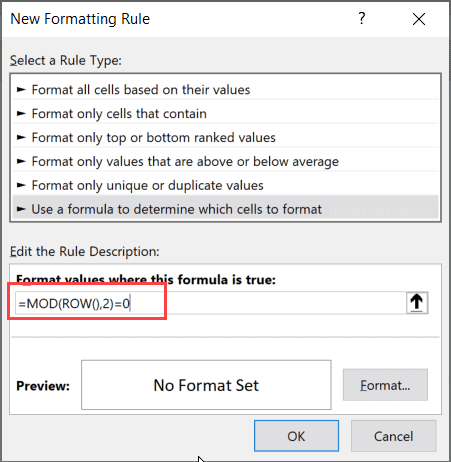 Enter the formula in the formula field