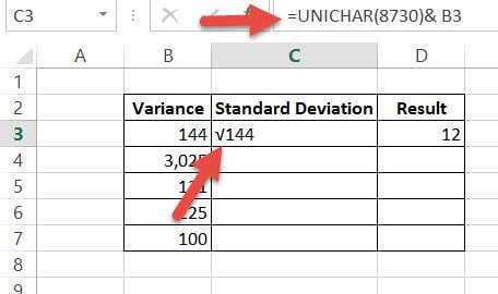Insert Square Root symbol using UNICHAR formula