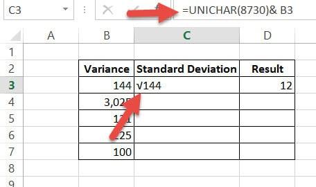 Insert Square Root symbol using UNICHAR formula