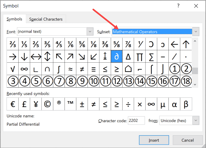 Select Mathematical operatos in the symbol dialog box