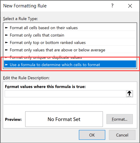 Select Use a formula to determine which cells to format