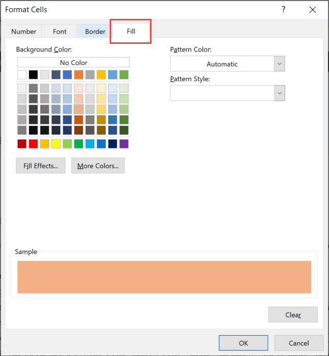 Select the color in the fill tab