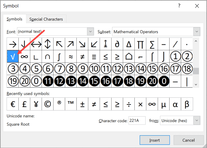 Select the square root symbol in the dialog box