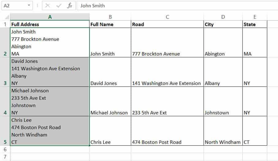 Address that has been split into multiple columns