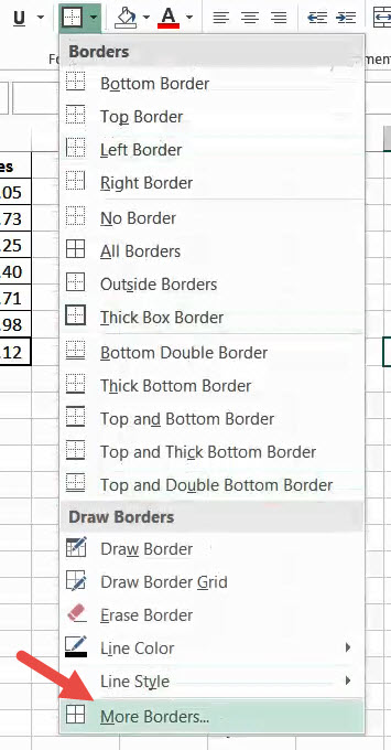 Click on the More border option