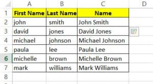 Combine Names using Flash Fill with capitalized first letter