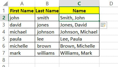 Combine Names using Flash Fill with capitalized first letter and comma