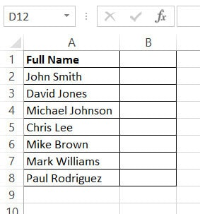 Dataset with first and last names