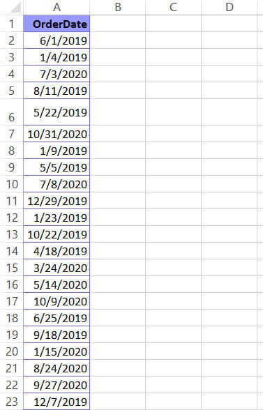 Date dataset that needs to be sorted