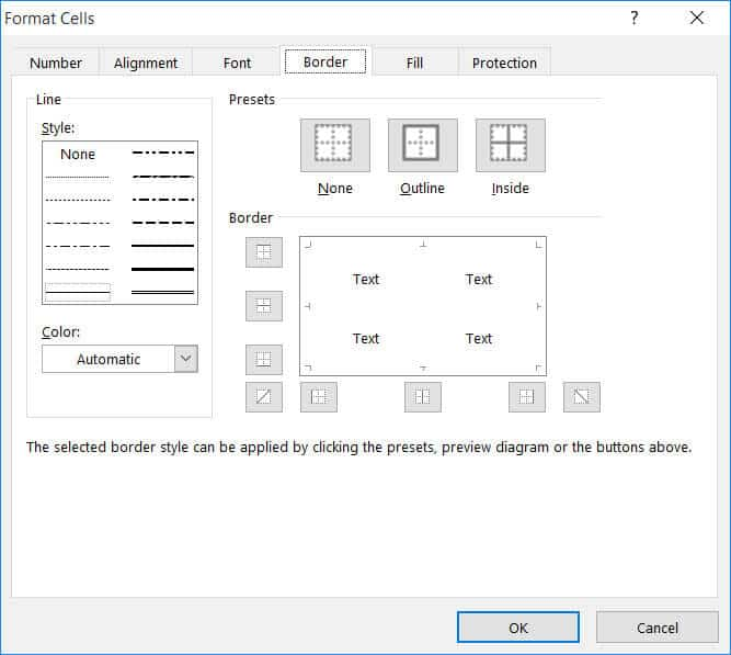 Format Cells Border tab options