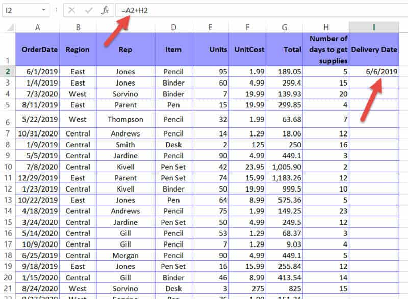 Formula to add days to date using cell reference