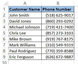 Phone Number format dataset