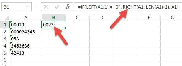 Removing one leading zero with IF formula