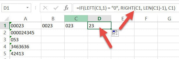 Removing three leading zero with IF formula