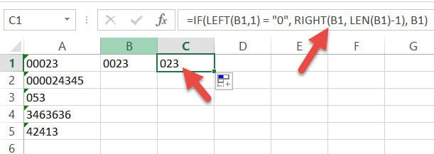 Removing two leading zero with IF formula