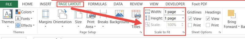 Set the height and width in the Page Layout tab