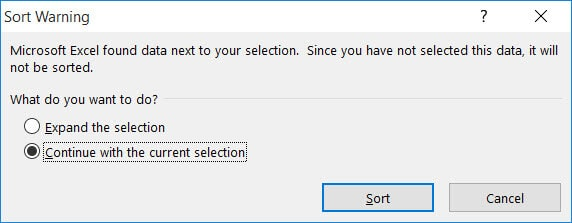 Sort warning to expand selection