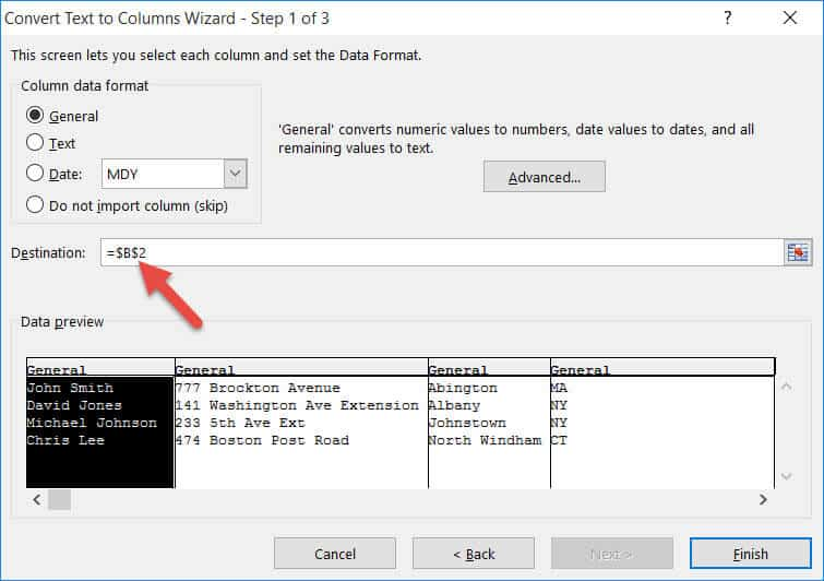Split One Column into Multiple Columns in Excel - Specify the destination cell