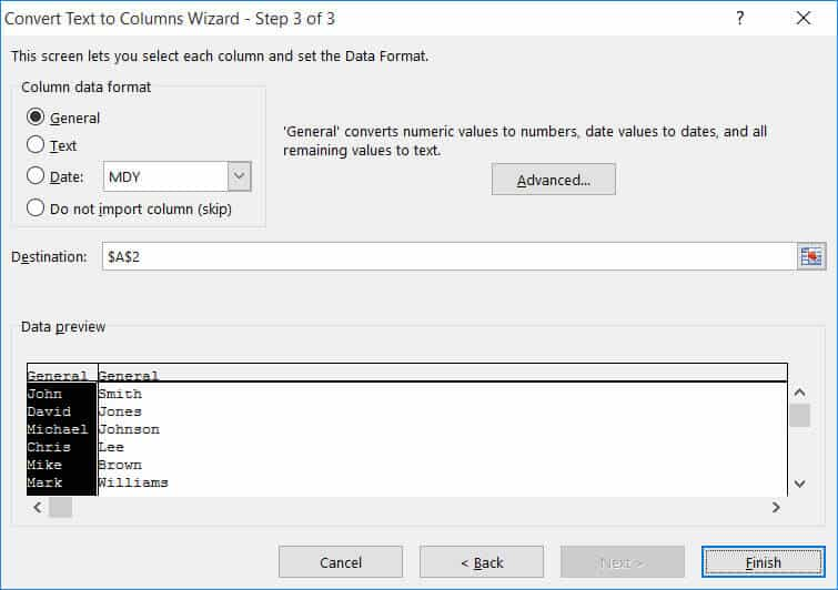 Step 3 of Text to columns - to specify the format