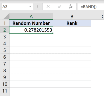 Uisng the RAND function to generate random number