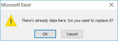 Warning in case there is data in cells that are to be filled