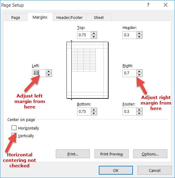 Adjust the Left and Right Margin and Cernter the page