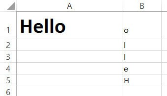 Alphabets in reverse order