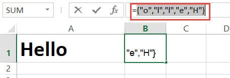 Array result after using the formula