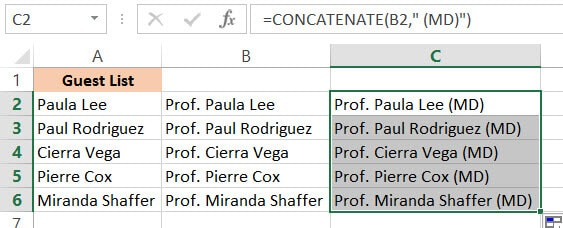 CONCATENATE formula result end