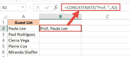 CONCATENATE function to add text before the string