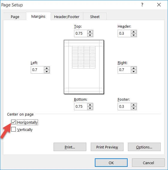 Center horizontally using Page Setup